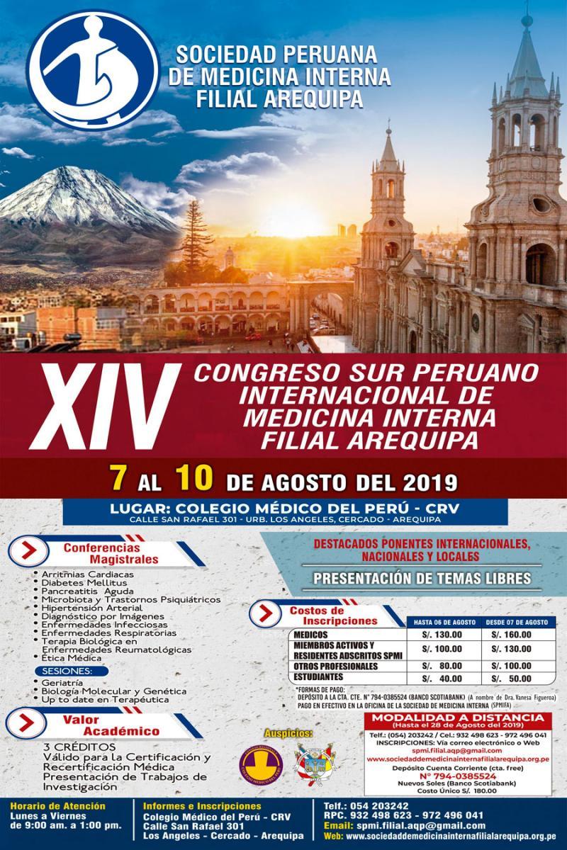 Xiv Congreso Sur Peruano Internacional De Medicina Interna Filial Arequipa Sociedad Peruana De Medicina Interna